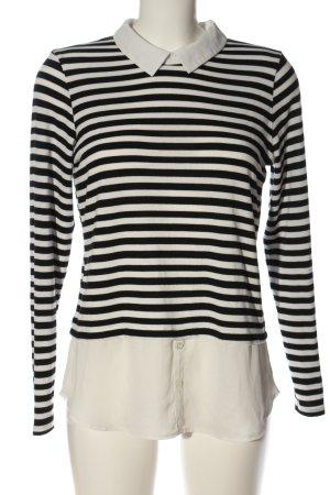 Atmosphere Langarm-Bluse weiß-schwarz Streifenmuster Casual-Look