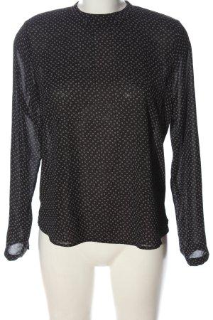 Atmosphere Langarm-Bluse schwarz-weiß Allover-Druck Casual-Look