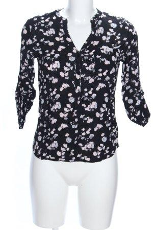 Atmosphere Long-Bluse schwarz-weiß Blumenmuster Casual-Look