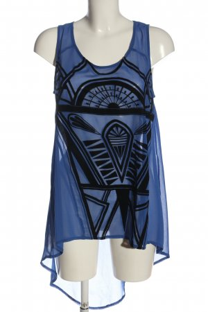 Atmosphere Long Top blue-black abstract pattern casual look