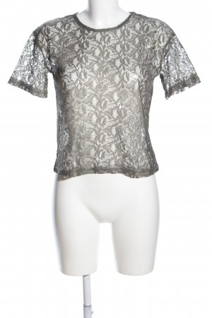 Atmosphere Mesh Shirt light grey flower pattern elegant