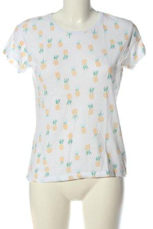 Atmosphere Print-Shirt weiß-hellorange Allover-Druck Casual-Look