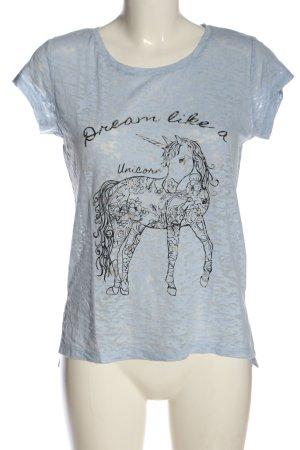 Atmosphere T-shirt imprimé bleu-noir imprimé avec thème style décontracté