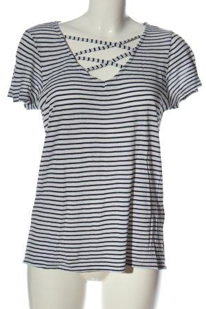 Atmosphere T-shirt rayé blanc-noir motif rayé style décontracté