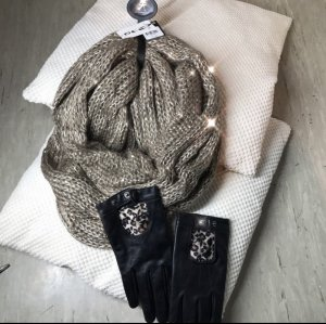 Atmosphere Crochet Scarf black-beige
