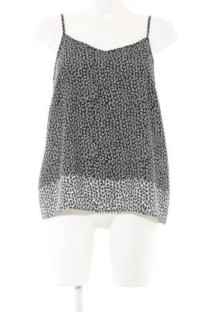 Atmosphere Top con bretelline nero-bianco sporco stampa integrale stile casual