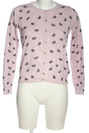 Atmosphere Cardigan in maglia rosa-nero stampa integrale stile casual