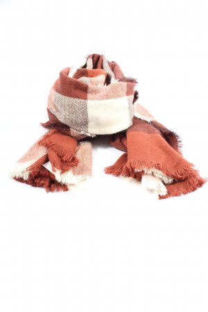 Atmosphere Knitted Scarf cream-brown check pattern casual look