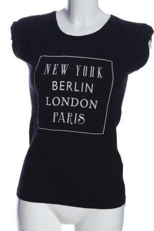 Atmosphere T-Shirt schwarz-weiß Schriftzug gedruckt Casual-Look