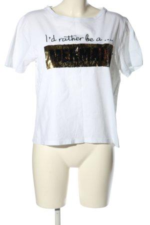 Atmosphere T-Shirt weiß-goldfarben Schriftzug gedruckt Casual-Look