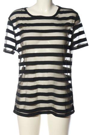 Atmosphere Transparenz-Bluse schwarz-weiß Allover-Druck Casual-Look