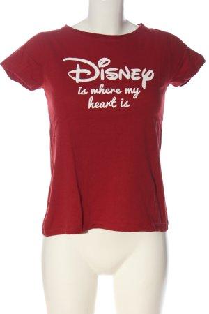 Atmosphere T-shirt rouge-blanc lettrage imprimé style décontracté