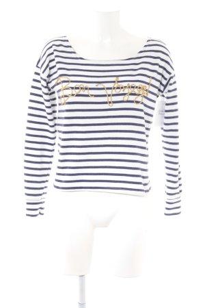 Atmosphere Boatneck Shirt white-dark blue striped pattern navy look