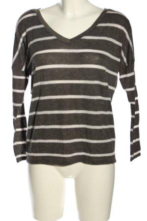 Atmosphere V-Ausschnitt-Pullover hellgrau-weiß Streifenmuster Casual-Look
