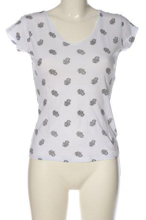 Atmosphere V-Neck Shirt white-black allover print casual look