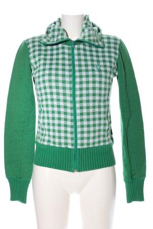 ATO Sweatjack groen-wit geruite print casual uitstraling