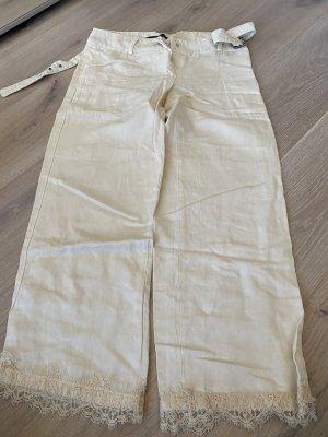 Atos Lombardini Pantalon 7/8 blanc cassé coton