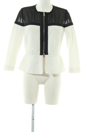 Atos Lombardini Sweatblazer wolwit-zwart quilten patroon elegant