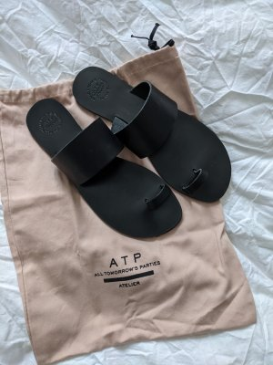 ATP Atelier Astrid Black Flat Sandals Gr. 38