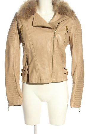 Attentif Veste en cuir synthétique blanc cassé style décontracté