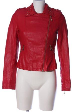Attentif Veste en cuir synthétique rouge style décontracté
