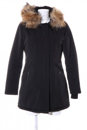 Attentif Wintermantel schwarz-braun Casual-Look