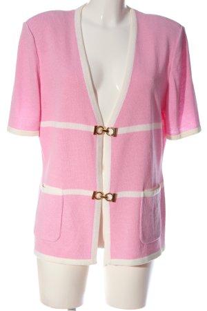 Attitude Dzianinowa kurtka z krótkim rękawem różowy-biały Wzór w paski