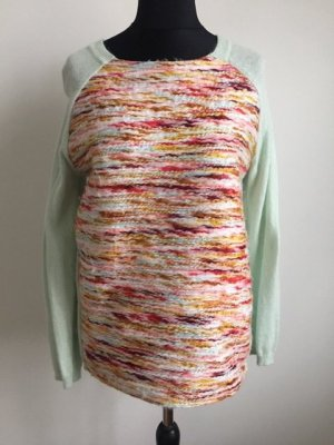 Attraktiver Angora Pullover hellgrün mint mit buntem Vorderteil H&M.