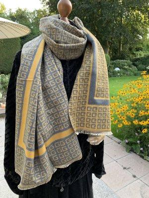 Écharpe en laine jaune primevère-gris ardoise