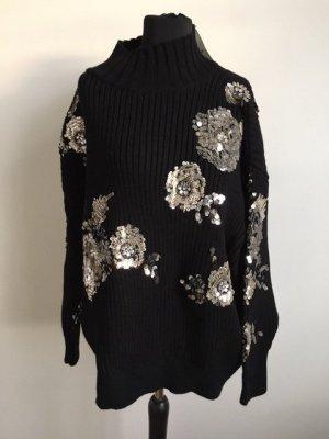 Zara Wool Sweater black-silver-colored