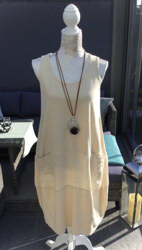 100% Fashion Robe à bretelles beige