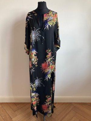 Zara Sukienka tunika czarny-ciemny pomarańcz Poliester