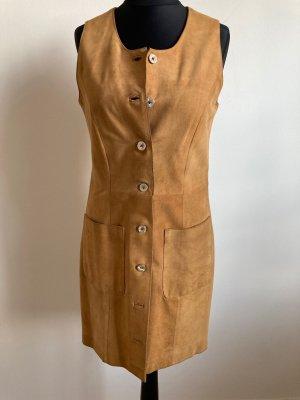 Vintage Robe en cuir chameau-beige cuir