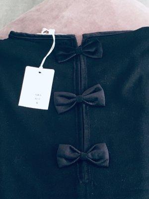 Audrey Hepburn Style: Schleifchen-Pulllover, Strick, Samt-Schleifchen, Gr M