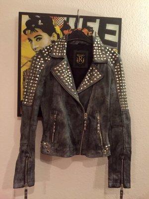 Ricano Biker Jacket slate-gray-azure leather