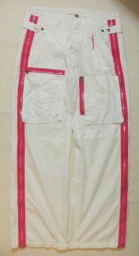 """Auffällige, seltene vintage Sommerhose/Pants, Hüfthose von FREEMAN T.PORTER """"Draft"""", weiss, Größe W28, DE 36, Small"""