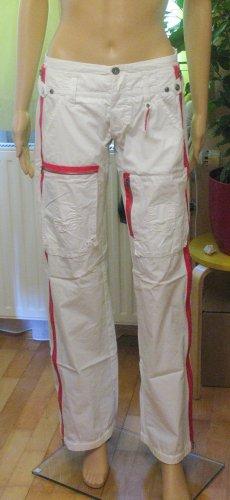 Freeman t. porter Pantalon taille basse blanc-magenta tissu mixte