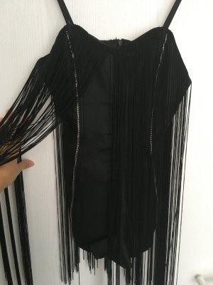 Spaghetti Strap Top black-silver-colored rayon