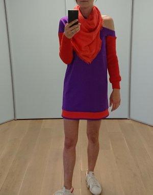 Pinko Sukienka z długim rękawem fiolet-czerwony Tkanina z mieszanych włókien