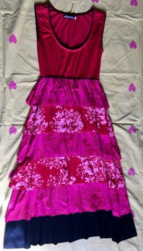 Sukienka z baskinką Wielokolorowy Wiskoza