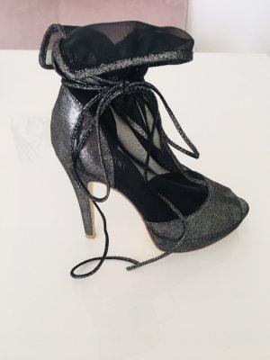Peep Toe Booties silver-colored-black