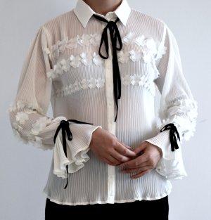 Aufwändig verarbeitete Chiffonbluse - Bluse im Blair Waldorf Style / Chanel Look