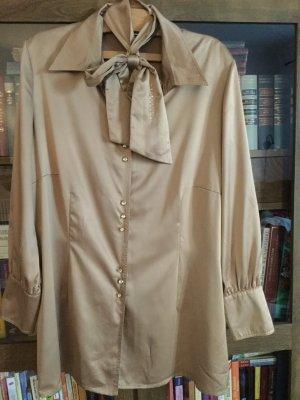 aufwendige, beige/goldfarbene seidenglänzende Bluse von Gelco, Gr. 50