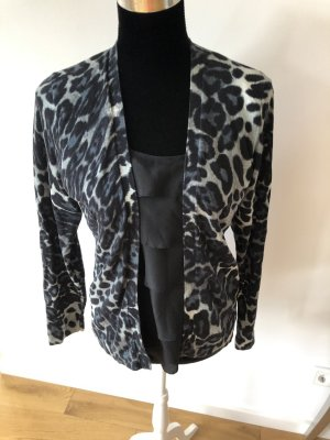 August Silk Cardigan Bluse Animalprint Strickjacke Snake Leo Leopard schwarz Edel Business
