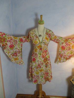 AUROBELLE Ibiza leichtes Hippie Kleid Gr. S Sommerkleid Pink Orange Grün Floral Festival