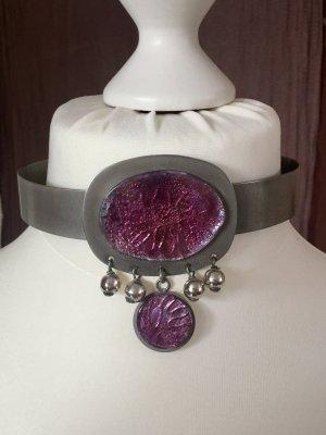 Vintage Schmuck Collar estilo collier color plata-violeta metal