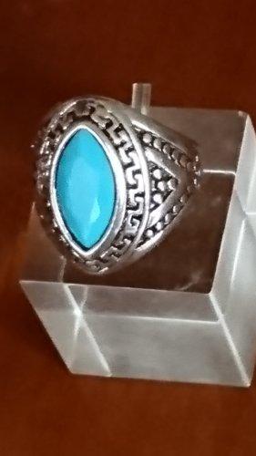 Ausdrucksvoller Tibet Silber Ring mit Naturstein Helblau Gr.17