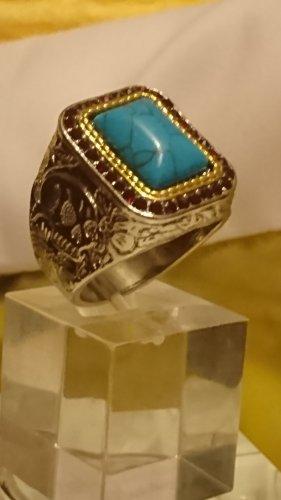 Ausdruckvoller Ring mit türkis Stein und kleine Saphire Gr.18 - Unisex