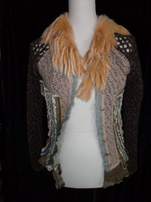 Tricot Chic Coarse Knitted Jacket dark brown-beige viscose