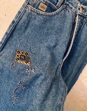 Ausgefallene 90er Jahre True Vintage High waist Jeans mit Drachen Gr 27